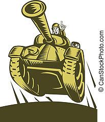 ilustração, de, um, batalha, tanque, voando, com, soldado,...