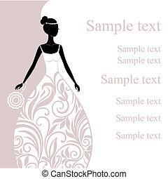 ilustração, de, um, bonito, jovem, noiva