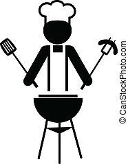 ilustração, de, um, cozinheiro, fazer, bbq, -1