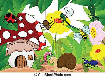 ilustração, de, um, família, de, insetos