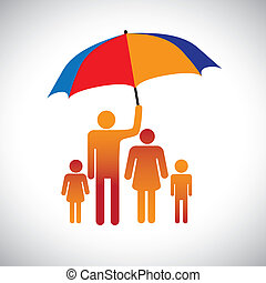 ilustração, de, um, família quatro, com, umbrella., a, gráfico, repr