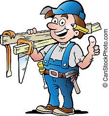 ilustração, de, um, feliz, carpinteiro