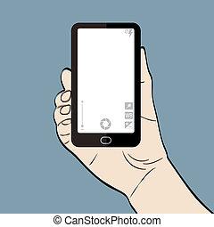 ilustração, de, um, homem, telefone segurando