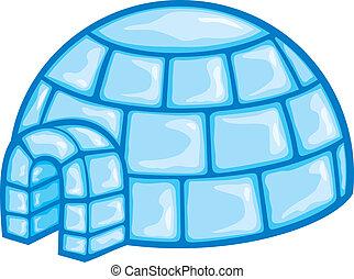 ilustração, de, um, igloo