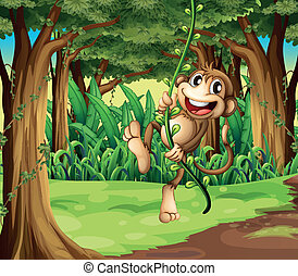 ilustração, de, um, macaco, tocando, com, a, videira, árvores, meio, de, a, floresta