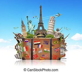 ilustração, de, um, mala, cheio, de, famosos, monumento