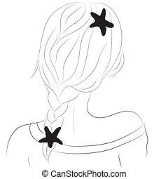 ilustração, de, um, menina, com, pigtails, e, bobby, alfinetes