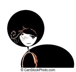 ilustração, de, um, menina, vestido, em, pretas