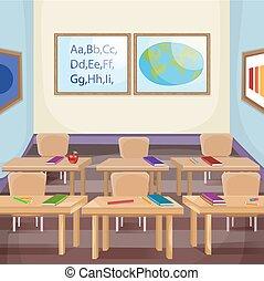 ilustração, de, um, vazio, sala aula