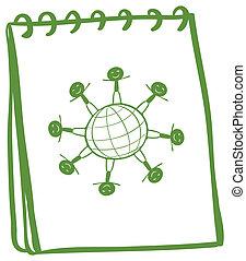 ilustração, de, um, verde, caderno, com, um desenho, de, crianças, ficar, ao redor, globo, ligado, um, fundo branco