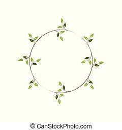 ilustração, decorativo, hera, vindima, verde, frames., redondo, wreath., floral, vetorial