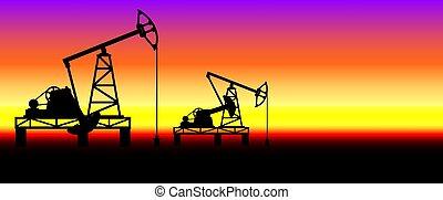 ilustração, derricks, óleo, pumpjack