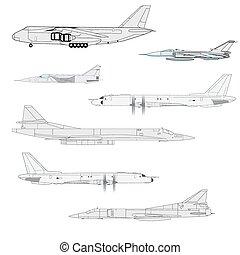 ilustração, desenhistas, team., vetorial, combate, aircraft.