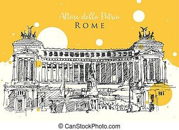 ilustração, desenho, esboço, roma, fatherland, altar