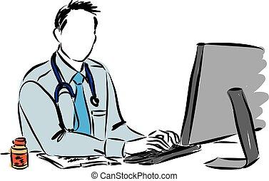 ilustração, doutor, computador, trabalhando