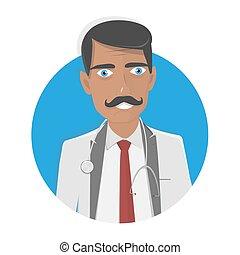 Ilustração, doutor, fundo, vetorial, branca, médico, Feliz