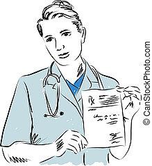 ilustração, doutor, médico