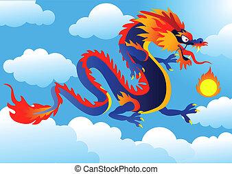 ilustração, dragão