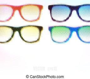 ilustração, editable., halftone, experiência., vetorial, óculos