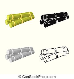 ilustração, elemento, estoque, açúcar, vetorial, símbolo, caule, teia, web., logo., cana