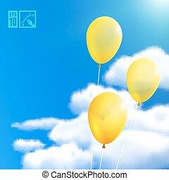 ilustração, eps10, editable, vetorial, fundo, balloons., céu