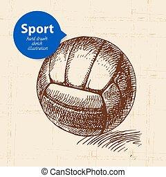 ilustração, esboço, object., mão, vetorial, voleibol, desenhado, desporto