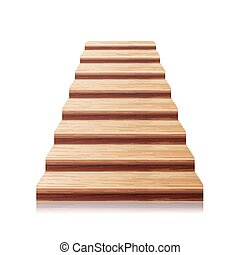 Ilustração, escadaria, madeira, isolado, realístico, vetorial, frente, vista, branca,  3D