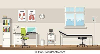 ilustração, escritório, doutor