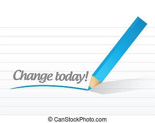 ilustração, escrito, desenho, mudança, mensagem, hoje