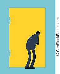ilustração, espiões, vetorial, olha, sujeito, keyhole., homem