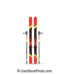 ilustração, esqui, equipamento, vetorial