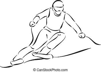 ilustração, esquiador