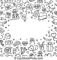 ilustração, estilo, dia, saudação, valentines, doodling, space., cartão, cópia