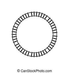 ilustração, estrada ferro