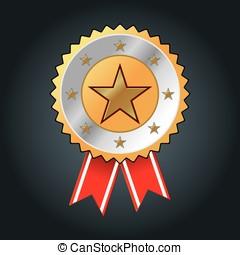 ilustração, estrela, ouro, distinção