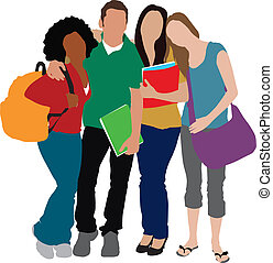 ilustração, estudantes