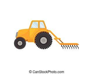 ilustração, experiência., vetorial, amarela, fechado, táxi, plow., branca, trator