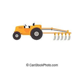 ilustração, experiência., vetorial, amarela, plow., branca, trator