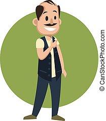 ilustração, experiência., vetorial, branca, homem, sorrindo, feliz