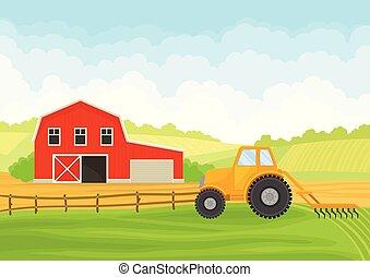ilustração, experiência., vetorial, field., branca, trator, celeiro