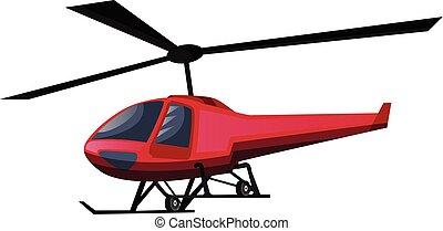 ilustração, experiência., vetorial, helicóptero, branco vermelho