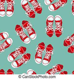 ilustração, experiência., vetorial, sneakers, verde vermelho