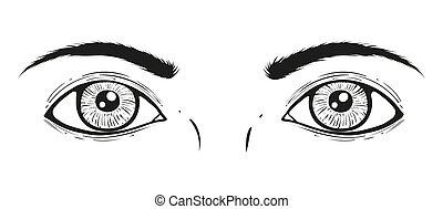 ilustração, eyes., vetorial