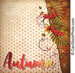 ilustração, folhas, outono, vetorial, fundo, maple