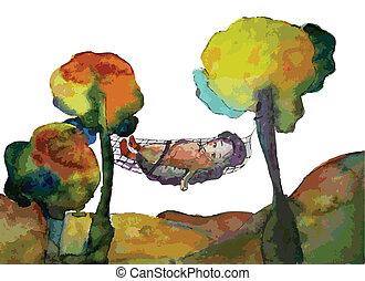 ilustração, fundo, árvores, ouriço, outono