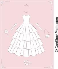ilustração, fundo, apartamento, moda, vestido, casório