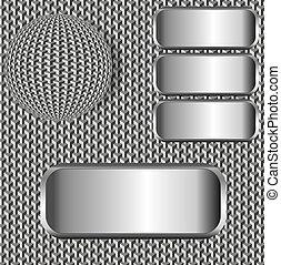 ilustração, fundo, com, bola, e, metálico, etiquetas