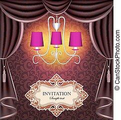 ilustração, fundo, com, cortinas, e, lustre, convite, de, a, texto