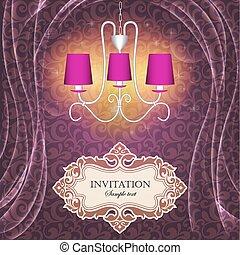 ilustração, fundo, com, cortinas, e, um, lustre, com, a, texto, de, a, convite