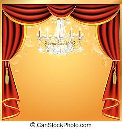 ilustração, fundo, com, cortinas, e, um, lustre, com, espaço, para, texto